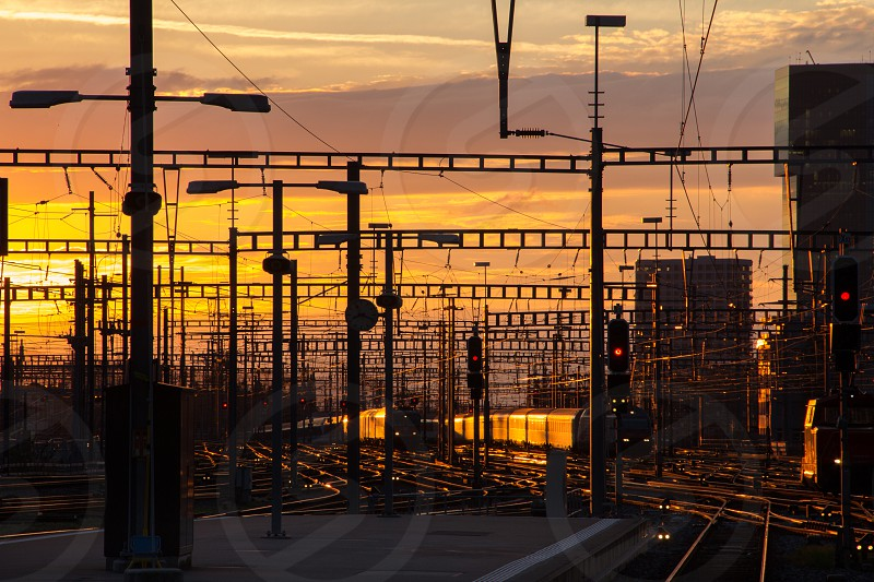 Sunset Zurich main station. photo