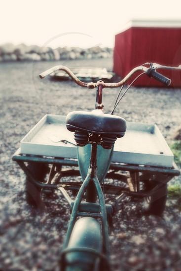 Vintage rusty bike engine moped rust charming charm rustic backyard photo