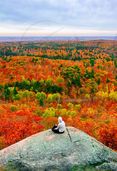 Fall autumn national parks canada girl colorful trees photo