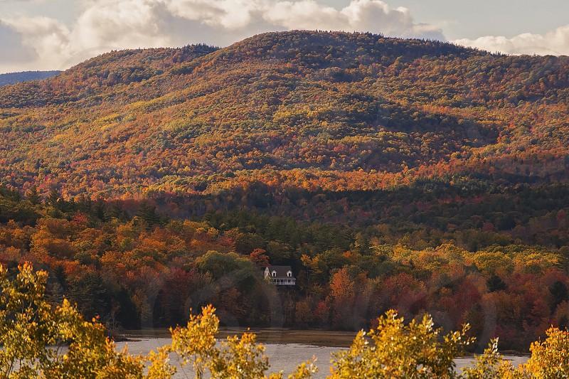 Fall Maine house colors mountain  photo