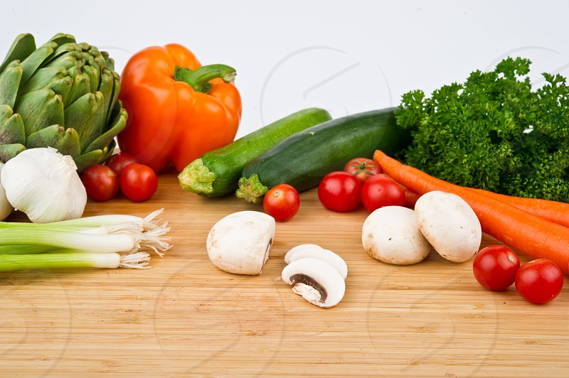Vegetables on a cutting board photo