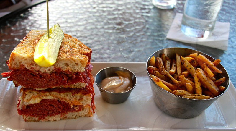 Reuben sandwich with fries photo