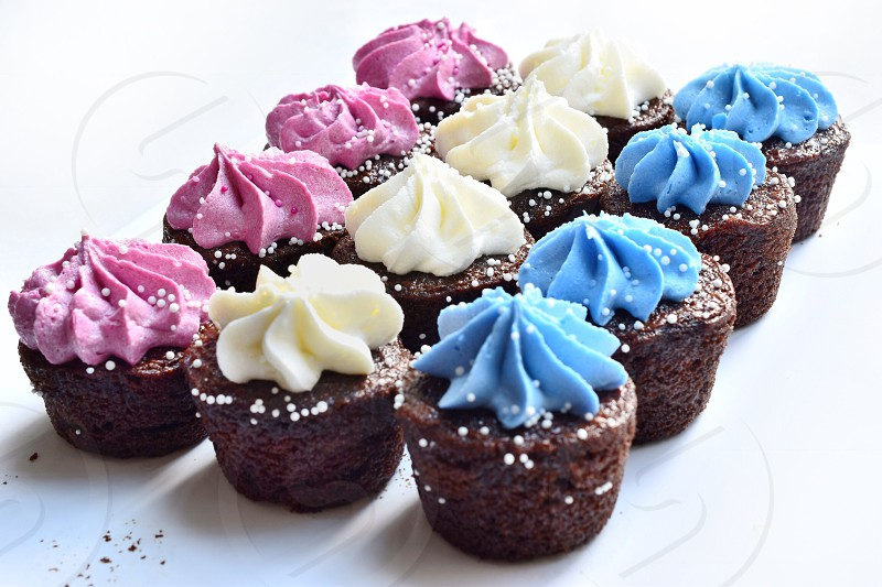 Red white and blue cupcakes  photo