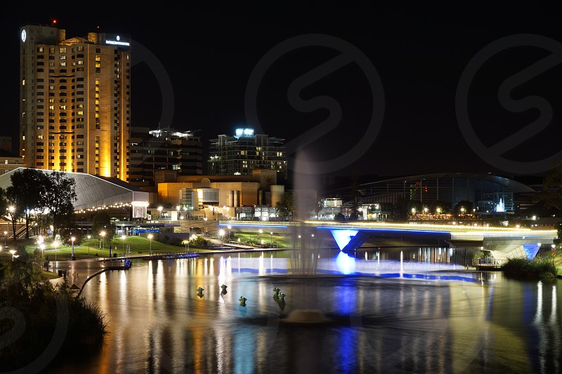 Adelaide and River Torrens by night photo