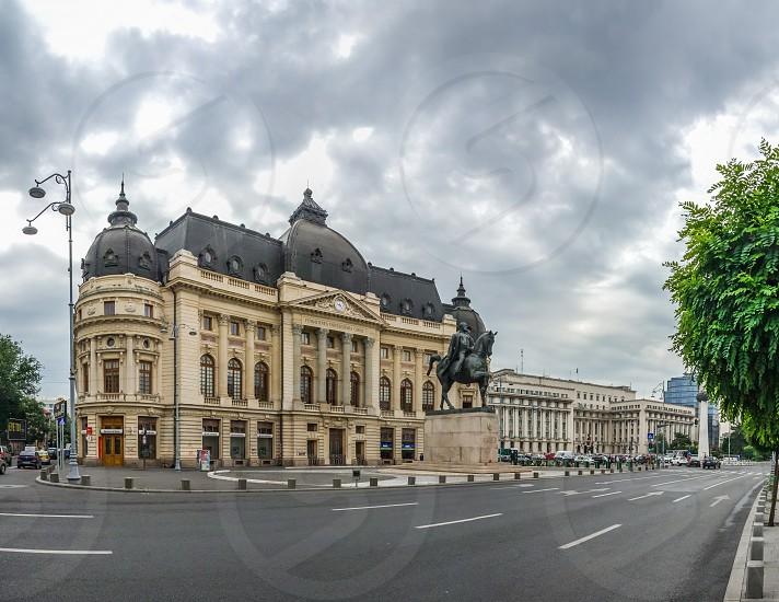 BUCHAREST ROMANIA - 07.21.2018. Central University Library Bucharest University in Romania. Panoramic view photo