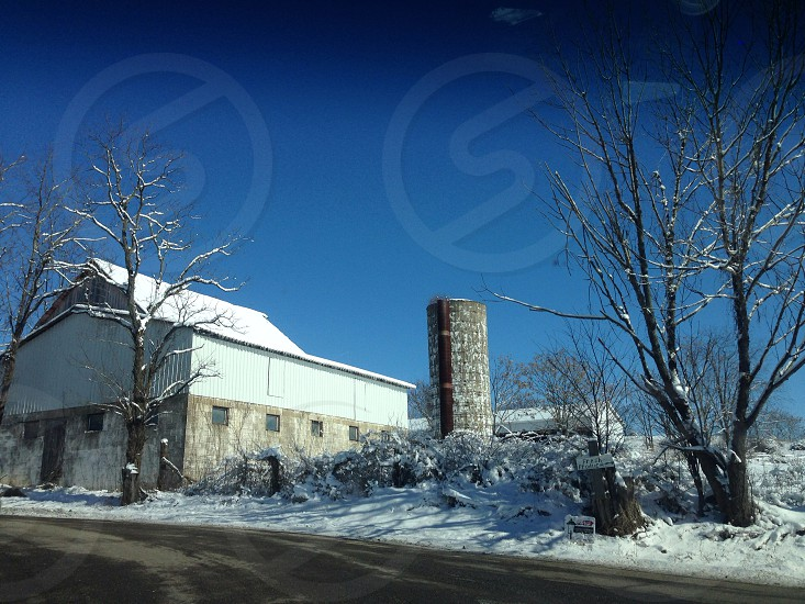 Winter farm scene photo