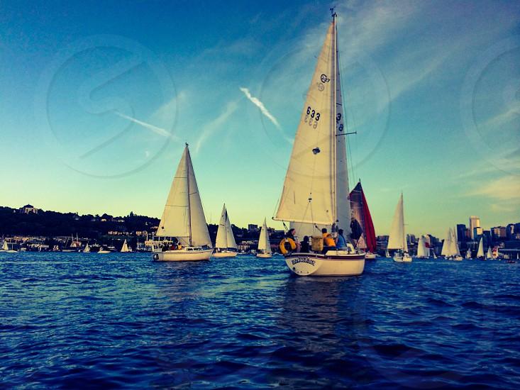 Sailing regatta lake union Seattle race boats sails photo