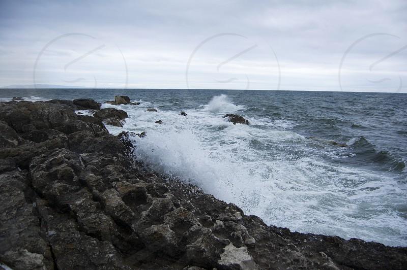 Antrim Coast Road Northern Ireland Irish Sea Autumn Waves Crashing Rocks photo