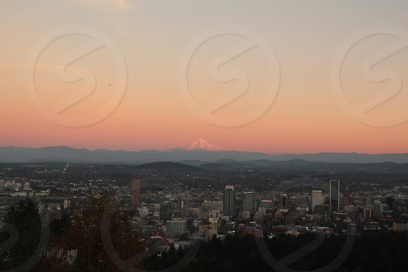 View of Portland and Mt Hood from the Pittock Mansion photo