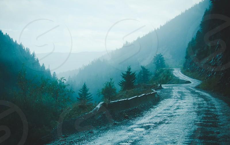 Misty winding mountain road. British Columbia Canada. photo
