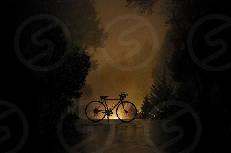 Bike in the rain photo