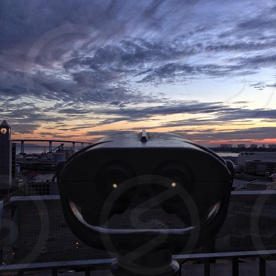 gray standing binocular  photo