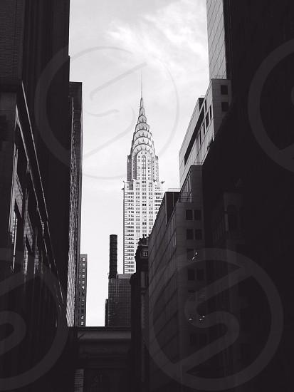 empire state building in black & white scenery  photo