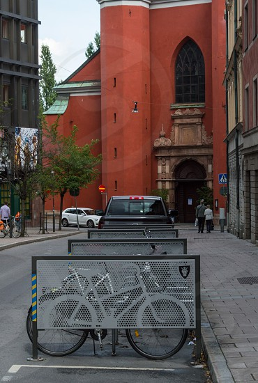 bicycle parking at old town in Stockholm Sweden  photo