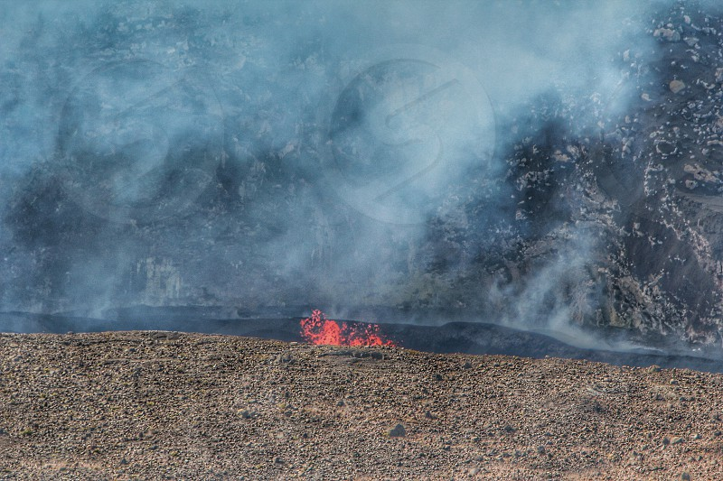 Lava in the crater in Hawaii volcano national park photo