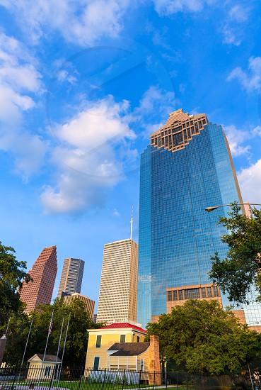Houston skyline from Sam Houston Park at Texas US USA photo