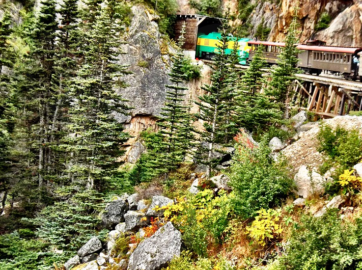 Train travel tunnel mountains trees transportation  photo