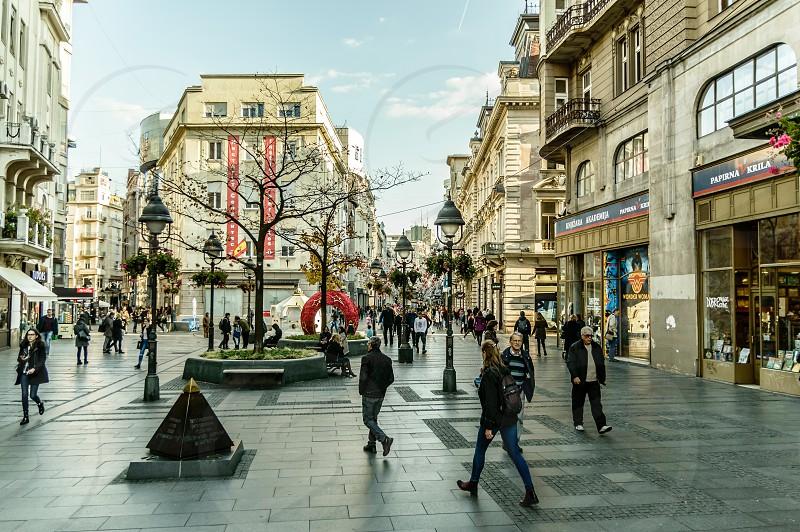 Knez Mihailova Street in Belgrade Serbia photo