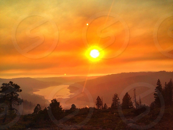 Sunset over the King fire in Northern California 2014.  photo