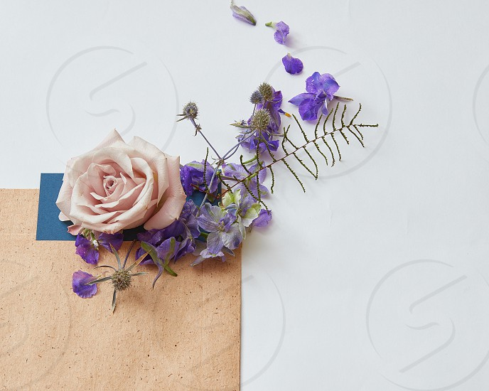 Flat lay shot of flowers and eco paper envelope on white background photo