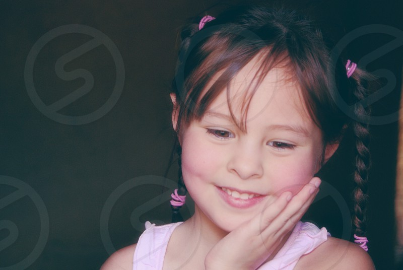 Little girl in pink photo