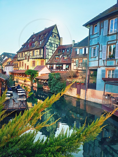 Colorful romantic city Colmar France Alsace. Traditional houses near the river. Medieval home facade historic town. Beautiful idyllic architecture. photo