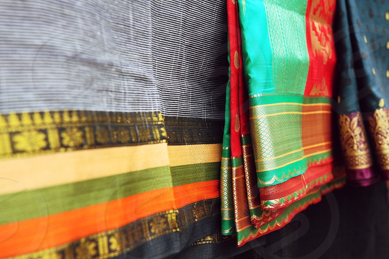 Designer sari colorful silk cotton handmade fabric textiles photo
