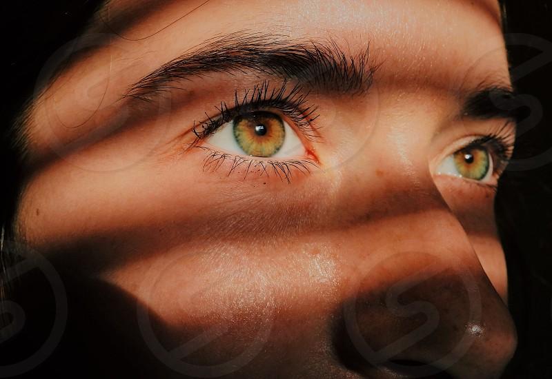 Eyes face light shadows hazel eyes brown brunette eyelashes beauty skin  photo