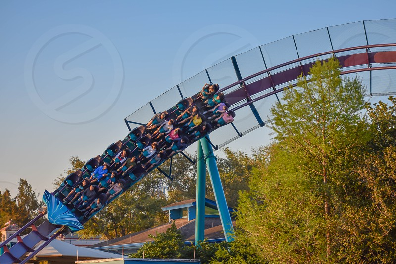 Orlando Florida. March 09 2019. People enjoying Mako Rollercoaster at Seaworld in International Drive area (4) photo