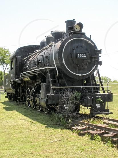 Vintage antique steam locomotive train engine. photo