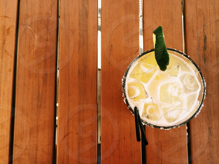 top view of a cold beverage on a wooden panel photo