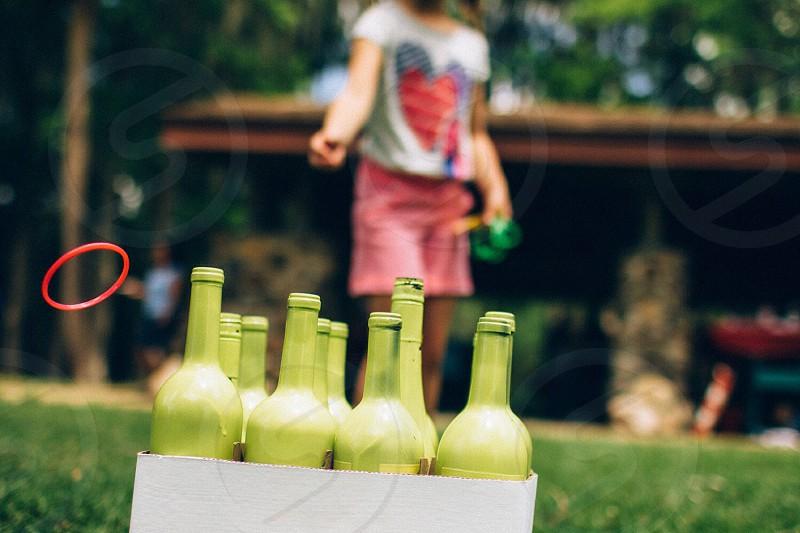 green glass bottle photo