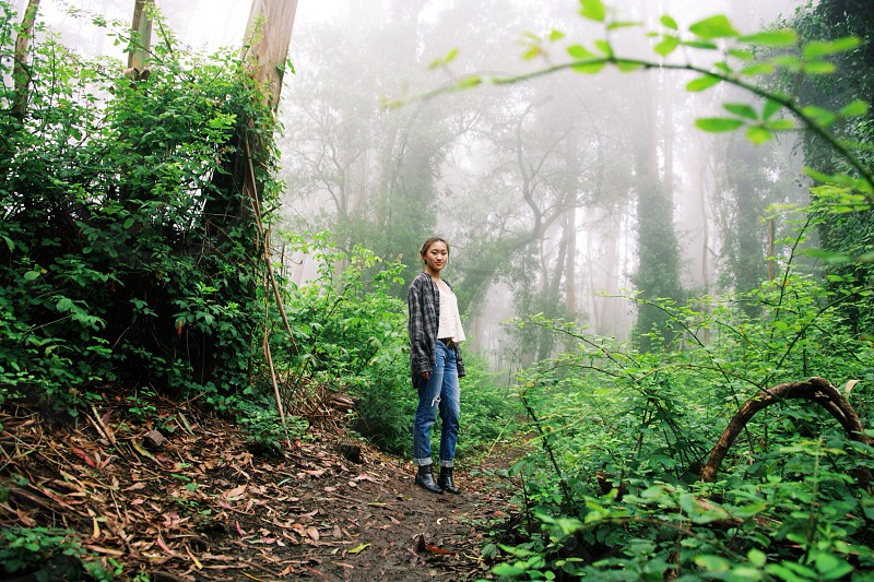 woman standing beside tall trees photo
