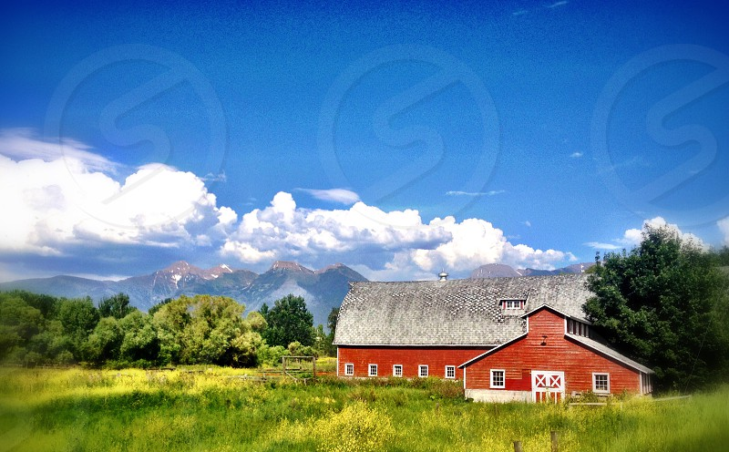 Barn red country clouds farm country living  photo