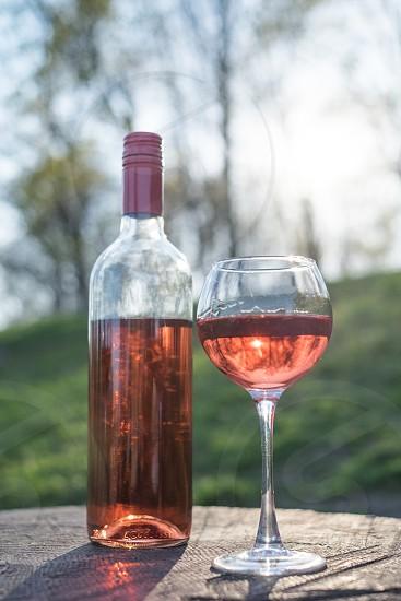 rose wine in a glass photo