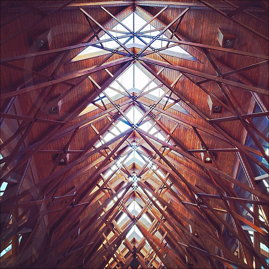 vaulted wood triangular ceiling photo