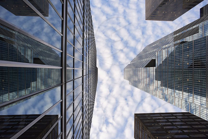 Low angle view of skyscrapers office buildings in financial district in Toronto reflecting in the windows photo