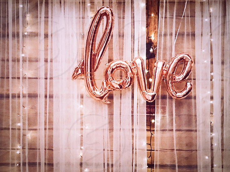 Love word text balloon balloons pink color photo
