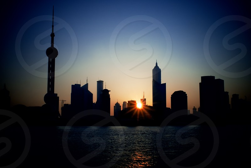 china shanghai pudong skyline at summer sunrise photo