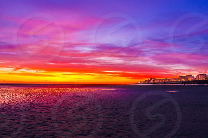 Beach sand seaside sea sunset Sussex photo