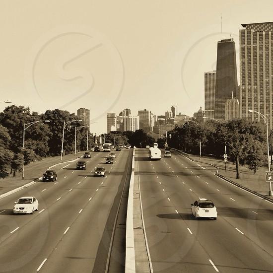 Chicago urban skyline lakeshore drive photo