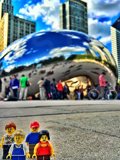 lego  mini figure in front of chicago cloud gate photo