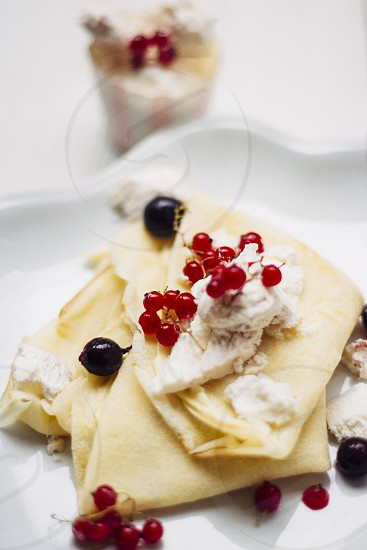 Crepes with icecream and fruit photo