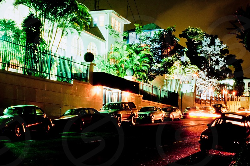 Nighttime illumination on house in government district in San Jose Costa Rica photo