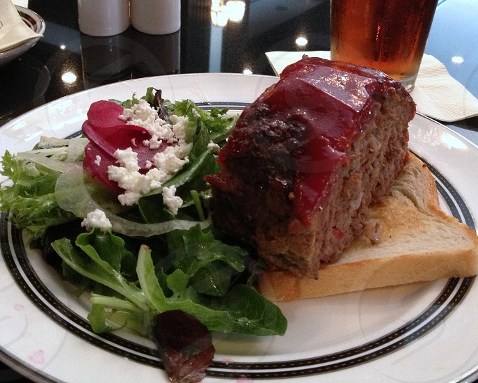 Meatloaf with salad on toast photo