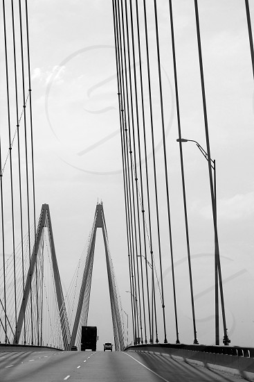 Black and white cable bridge  photo in southern Texas photo