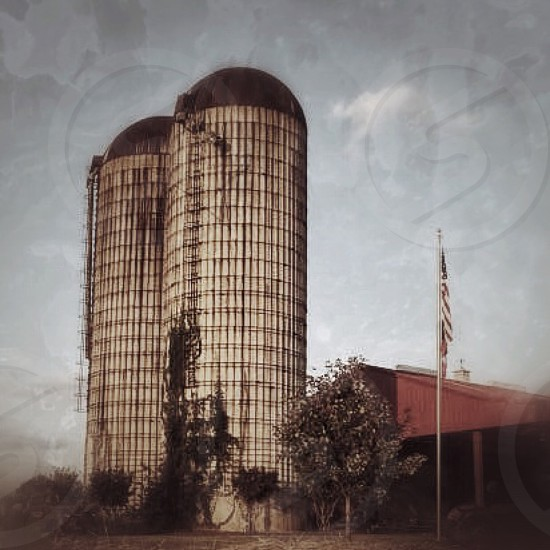 Silos on a farm photo