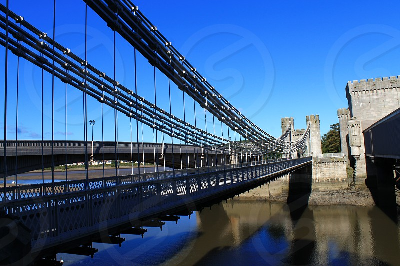 The Conwy Castle Suspension bridge North Wales.. photo