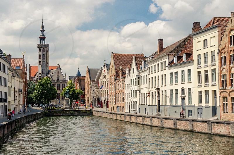Travel buildings city water sky architecture bruges belgium urban  photo