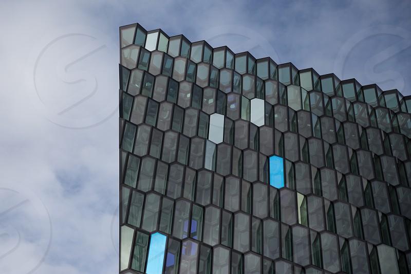 The skyline of Harpa in Reykjavik Iceland photo